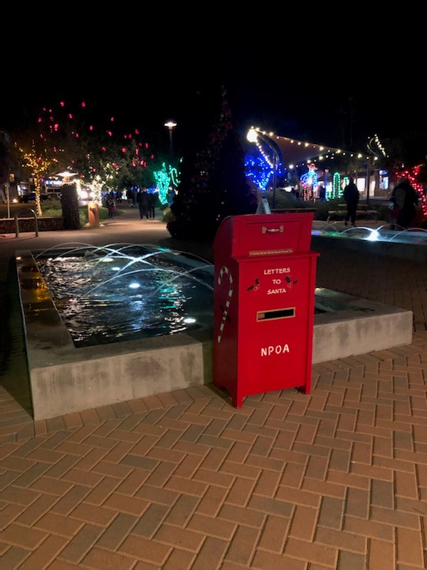 The letters to Santa mailbox at night